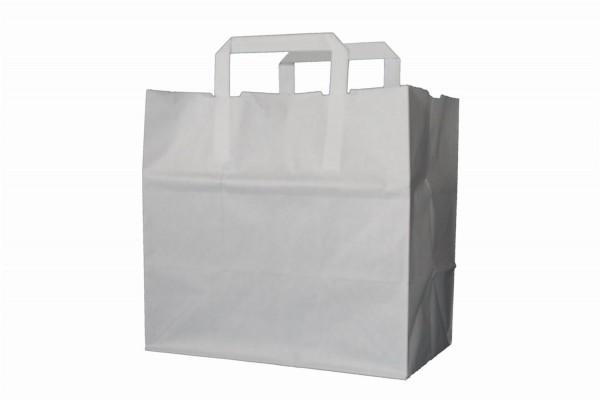 Tragetaschen Papier Weiß 32+22x25cm